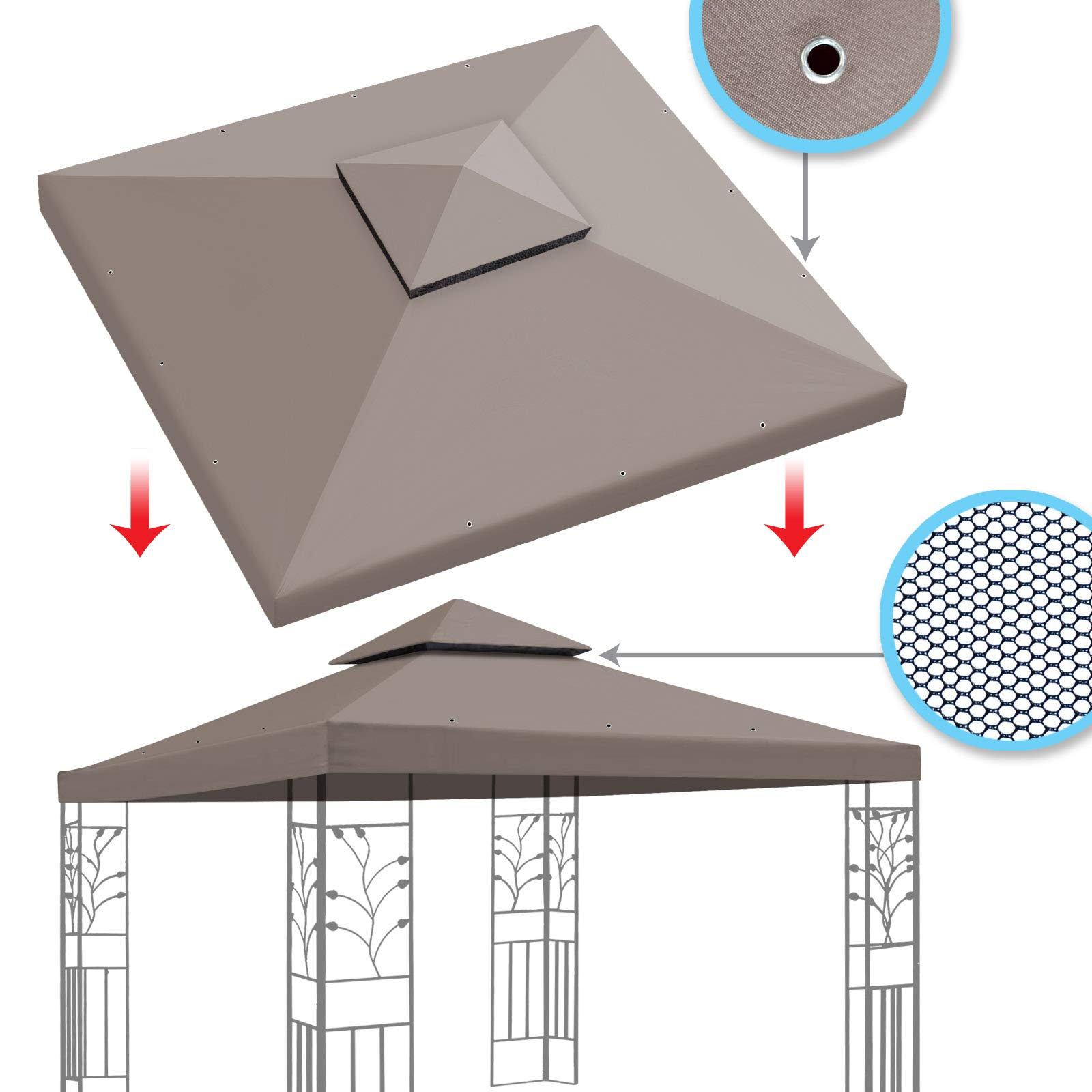 BenefitUSA Replacement Canopy Top Cover for 10'X10' Gazebo Polyester Double Tiers for Outdoor Garden Patio Pavilion Sunshade (Taupe)