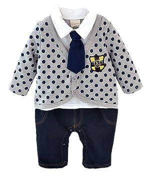 25cad1669cbd6 (コ-ランド) Co-land ベビー服 スーツ風 ロンパース 赤ちゃん カバーオール 新生児 長袖