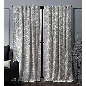 Nicole Miller Treillage Woven Blackout Hidden Tab Top Curtain Panel, Dove Grey, 52x84, 2 Piece