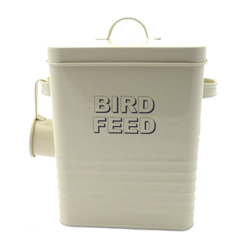 Bird Food Storage Tin - Cream Metal Bird Food Storage - New Home Sweet Home Range Lesser & Pavey