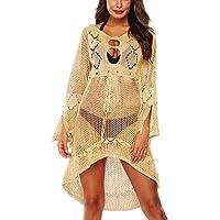 Woosifun Women's Fashion Summer Swimwear Bikini Crochet Tunic Cover Up Beach Dress
