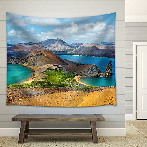 wall26 – View of Two Beaches on Bartolome Island in The Galapagos Islands in Ecuador – Fabric Wall Tapestry Home Decor – 68×80 inches