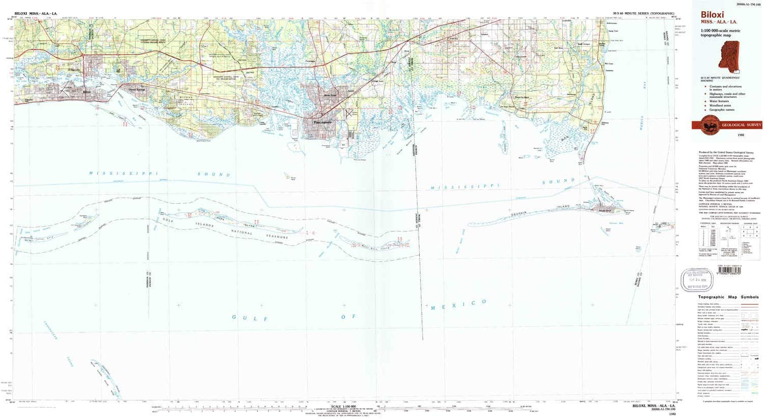 Amazon Com Yellowmaps Biloxi Ms Topo Map 1 100000 Scale 30 X