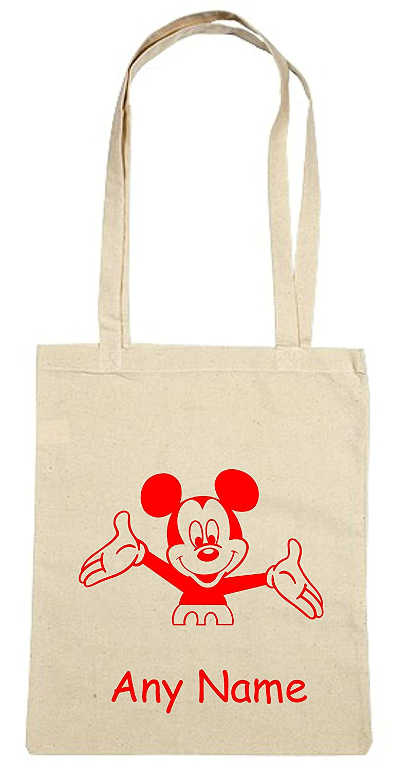 Personalised Mickey Mouse style Cotton Shopping/Tote Shoulder Bag *Choice  of design and bag colours*: Amazon.co.uk: Clothing
