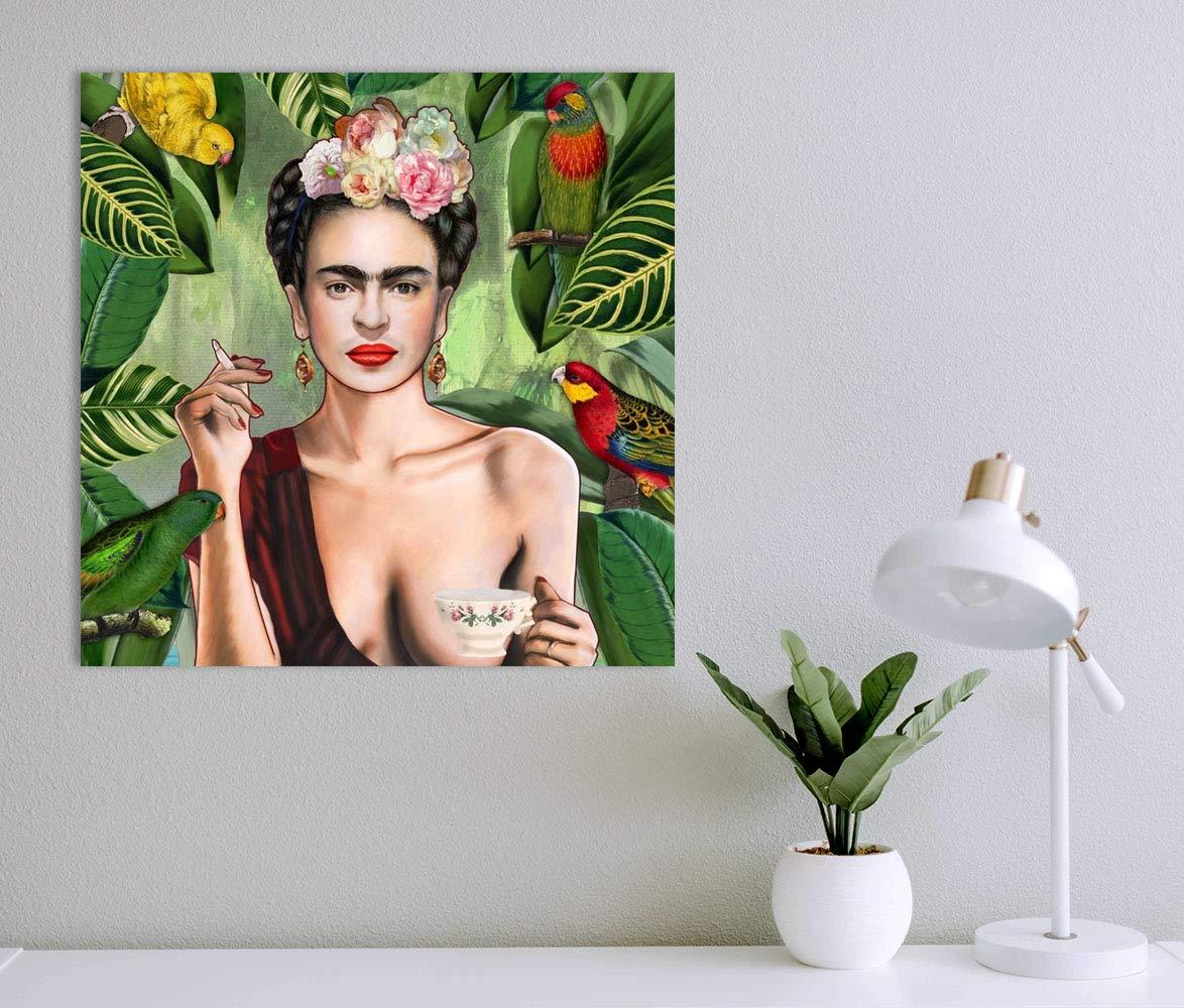 Tangerine Wall Cuadro Retrato de Frida Kahlo Sticky: l/ámina r/ígida para apoyar o Colgar sin Agujeros Tama/ños: 30x30 cm y 20x20 cm 20x20 cm