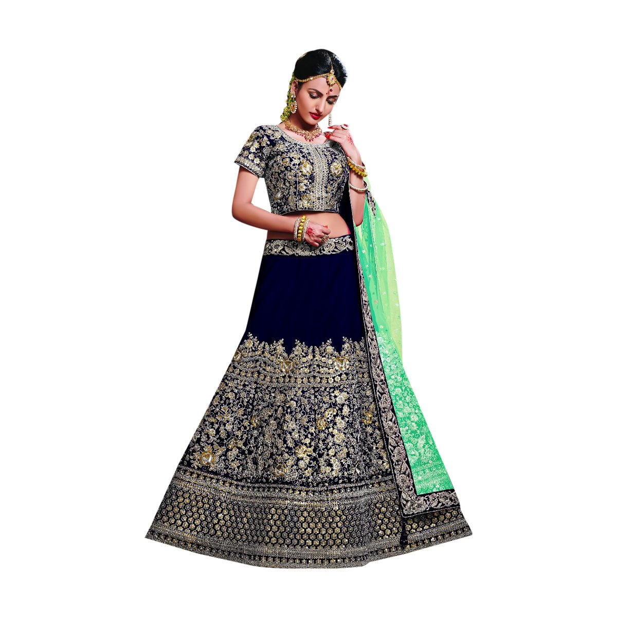 Designer Velvet Lehenga Choli Dupatta Dress Bollywood Indian Ethnic Wedding Women Muslim Bridal Embroidery Zari Work 645 (Blue) by ETHNIC EMPORIUM
