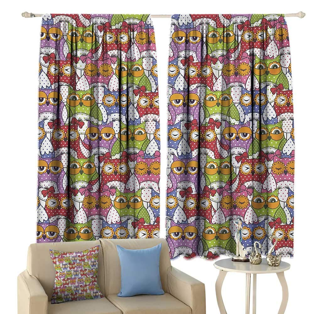 crabee Thermal Curtains Owl Ornate Owl Crowd with Different Sights and Polka Dots Like Matryoshka Dolls Fun Retro Theme Blackout Multi by crabee
