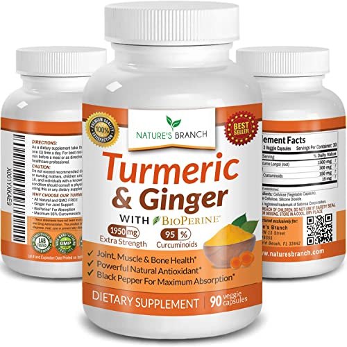 Extra Strength Turmeric Curcumin with Ginger BioPerine – 1950mg Joint Pain Relief Supplement for Inflammation with Black Pepper Powder Extract – Premium Made in USA Vegan Non GMO Pills – 90 Capsules