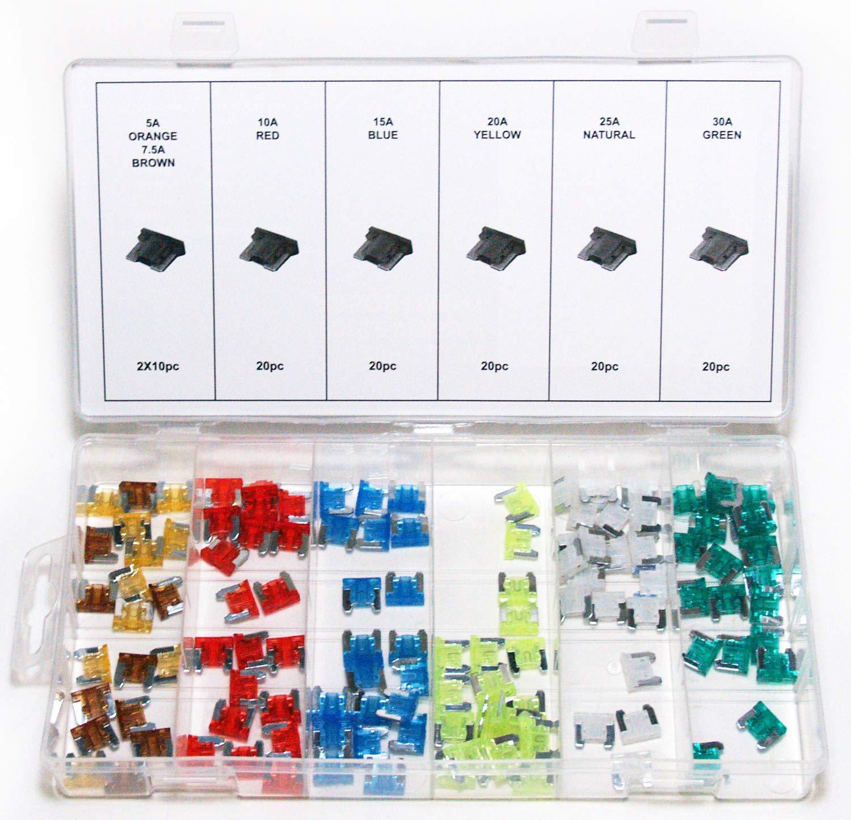 Craft-Equip 120 tlg. Auto Micro Sicherungs Set Flachsicherungen KFZ Sicherung Fahrzeugteile Hoffmann