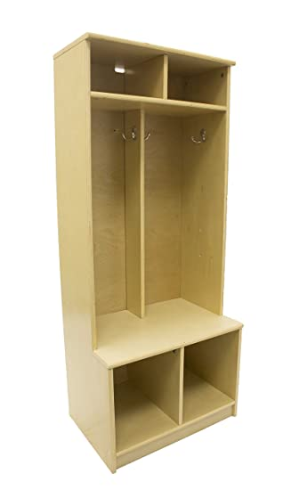 Little Partners Two Cubby Kids Wooden Locker U2013 Six Storage Sections U2013  Durable Construction (Natural