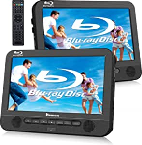 """NAVISKAUTO 10.1"""" Blu Ray Dual Car DVD Players with Rechargeable Battery Support 1080P Video, HDMI Out, Sync Screen, Dolby Audio, AV in & Out, USB SD (Host DVD Player+ Slave Monitor)"""