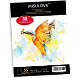 MISULOVE Watercolor Paper 9x12 Inch, 35 White Sheets (140lb/300gsm), Cold Pressed Art Sketchbook Pad for Painting & Drawing &