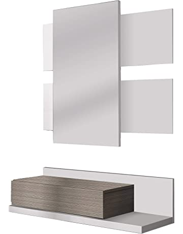 Habitdesign - Recibidor con cajón + Espejo Tekkan, Medidas: 75 x 116 x 29
