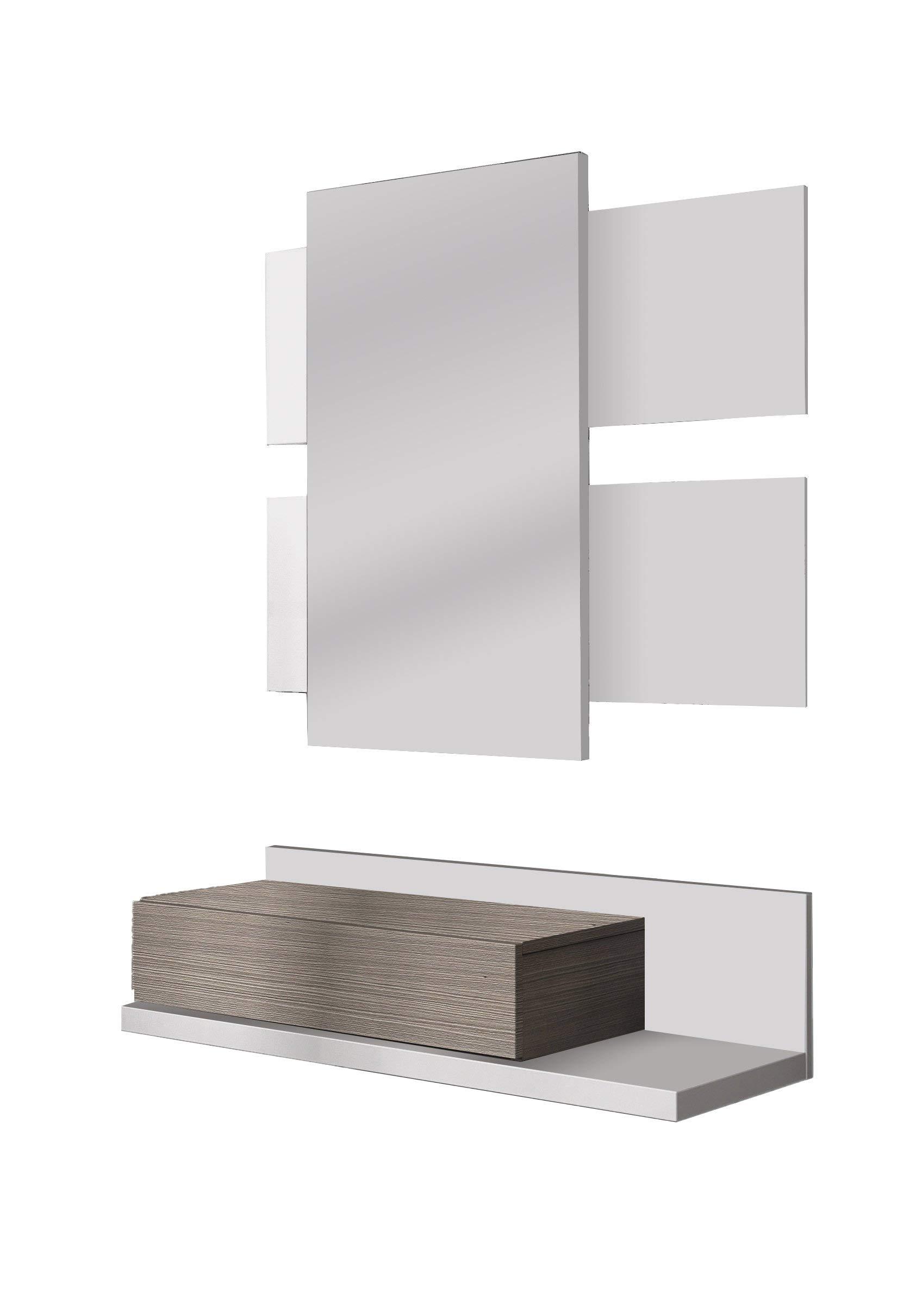 Habitdesign 0B6742BO - Recibidor con cajón + Espejo, Color Blanco Brillo y Fresno, Medidas