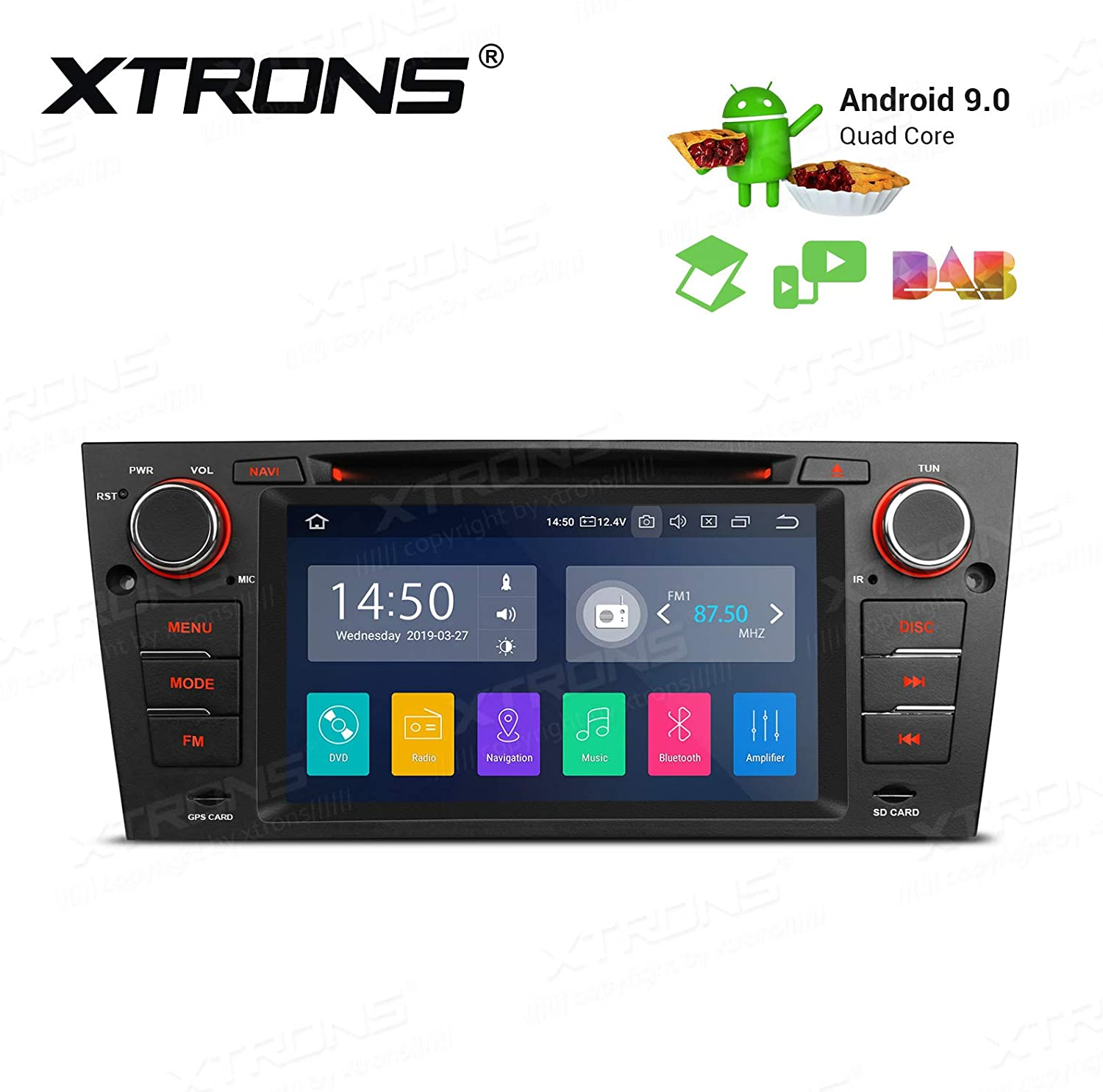 2006-2012 Android 10 Car Stereo Radio Single Din GPS Navigation Supports Bluetooth Mirror-link WiFi 4G TPMS DVR Fits for BMW 3 Series E90//E91//E92//E93