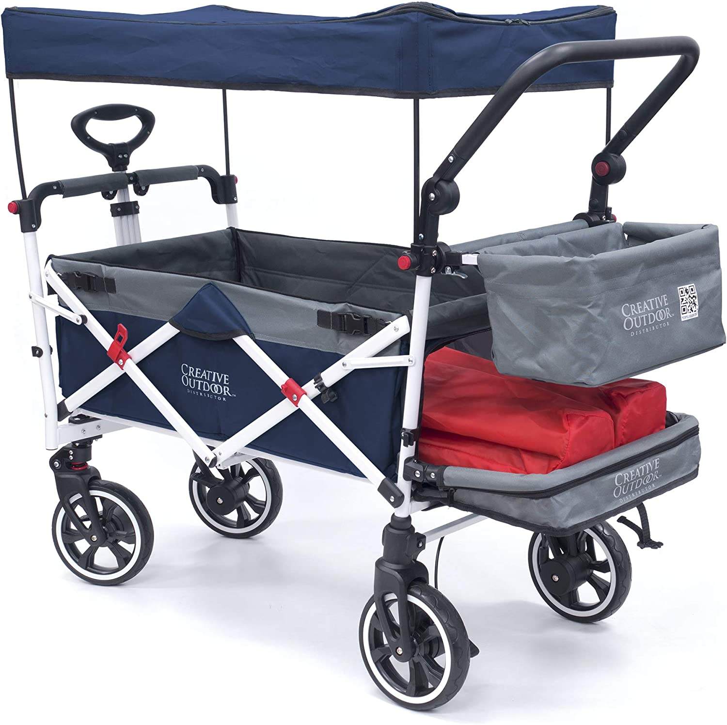 Creative Outdoor Push Pull Collapsible Folding Wagon Stroller Cart for Kids