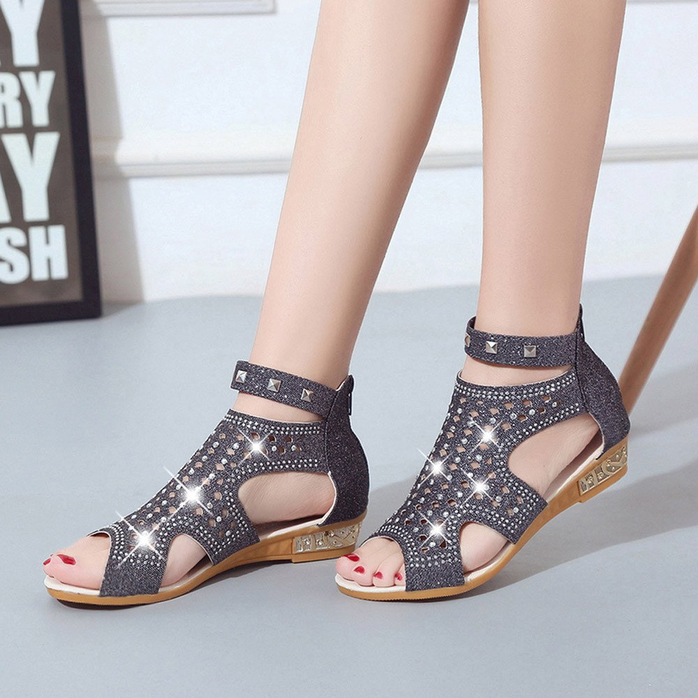 a7bb100fc6a Sunyastor Wedge Sandals for Women Office Products Ladies Summer Sandals  Wedge Fish Mouth Hollow Roma Shoes ...