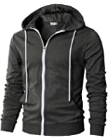 H2H Mens Fashion Lightweight Zip-up Hoodie With Pocket Of Various Colors