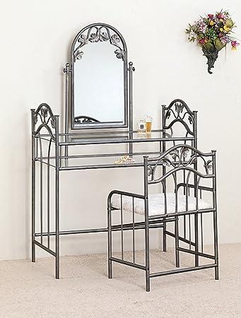 Coaster Nickel Bronze Finish Metal Vanity Table Stool   Mirror Set. Amazon com  Coaster Nickel Bronze Finish Metal Vanity Table Stool