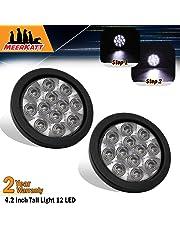 Meerkatt (Pack of 2) 4 Inch Round White LED Sealed Clearance Lamp Indicator Back