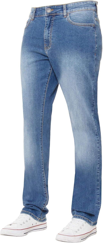 New ENZO Mens Skinny Ripped Jeans Super Stretch Frayed Denim Sizes Waist 28-42
