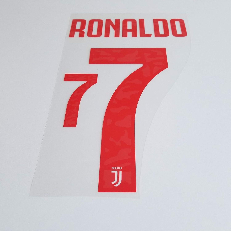 amazon com patches juventus 2019 2020 7 cristiano ronaldo home nameset name set shirt print font 19 20 away clothing amazon com patches juventus 2019 2020