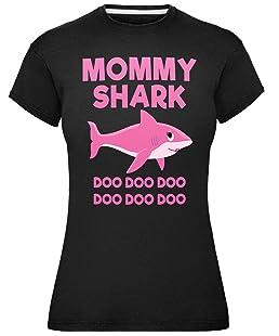 Ladies Mommy Baby Shark Family T-Shirt Dark Black Large (Size 14)