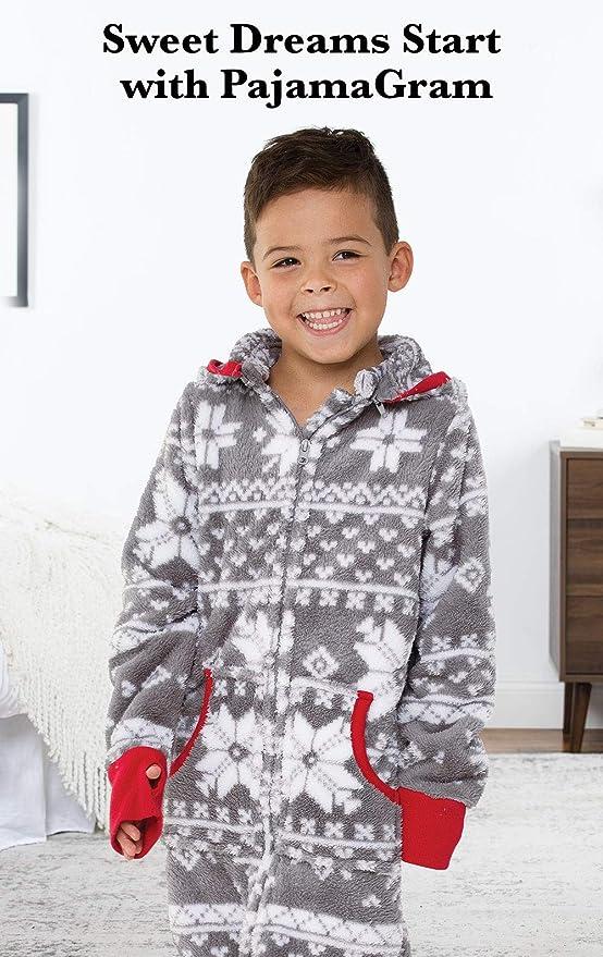 80c72f5844 Amazon.com  PajamaGram Big Boys  Hoodie-Footie Fleece Onesie Pajamas   Clothing