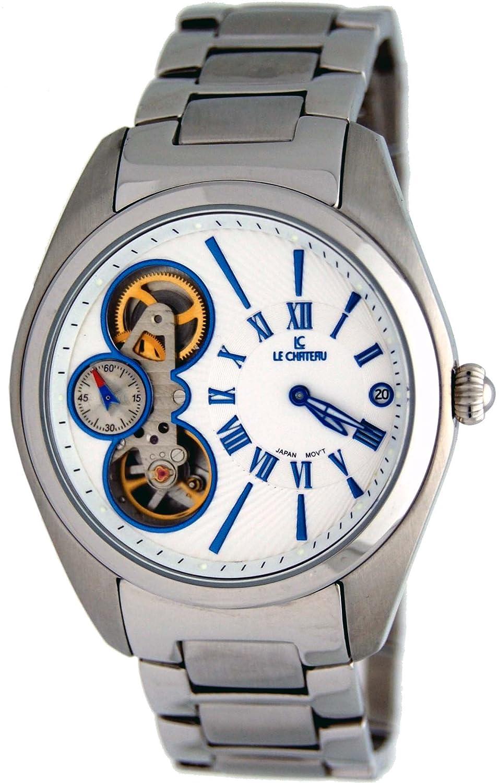 Le Chateau Men 'sスケルトンQuartz Watch withステンレススチールBand and日付表示# 5704 B01F0L5DVE