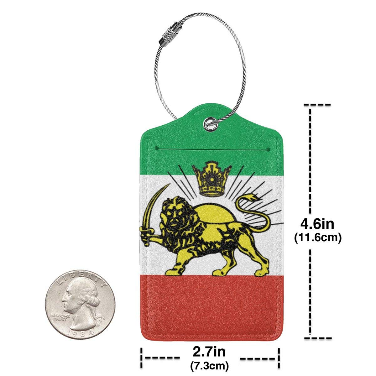 Mexican Flag Travel Luggage Tags With Full Privacy Cover Leather Case And Stainless Steel Loop