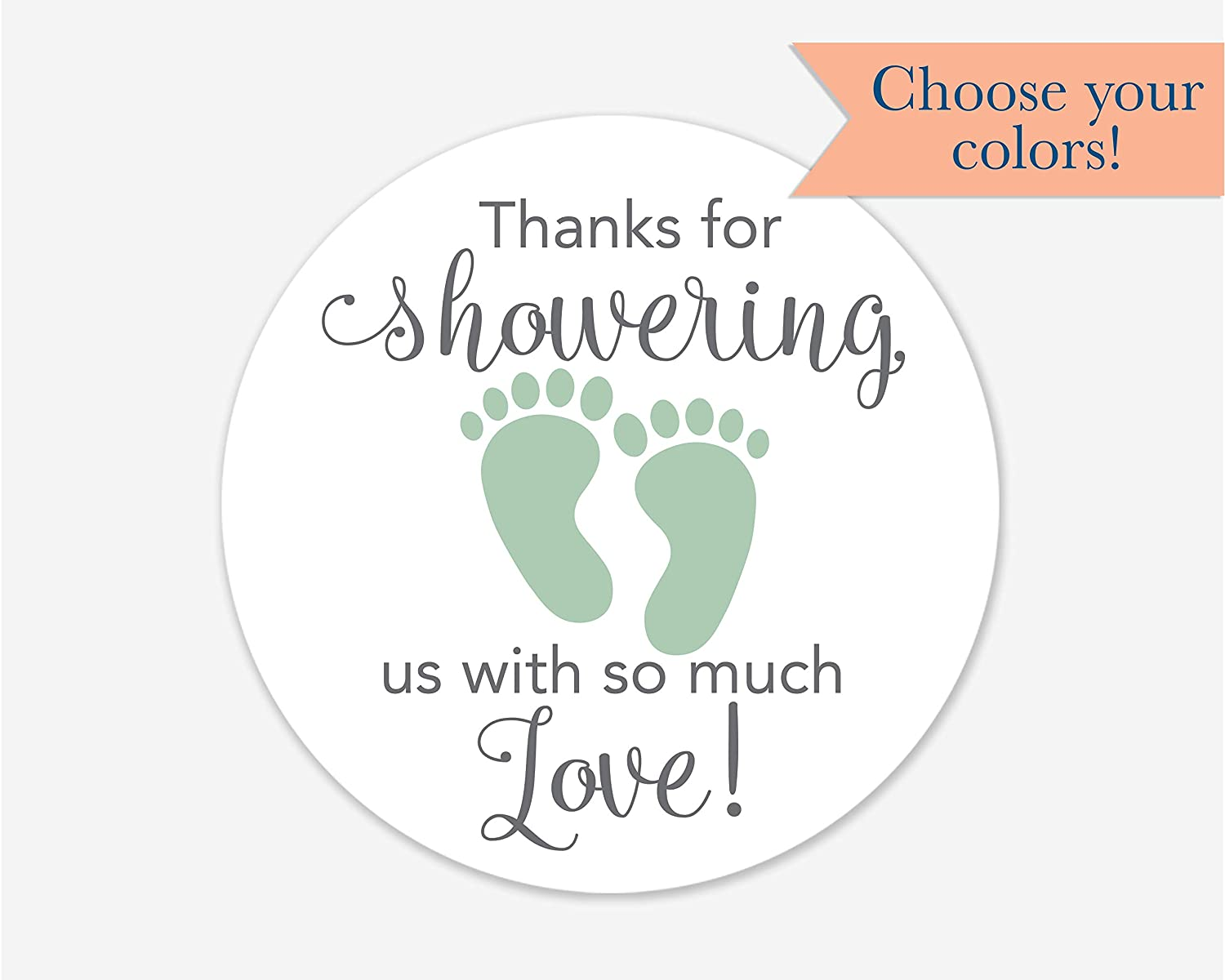 Baby Shower Stickers Thanks for Showering us Girl Boy and Gender Neutral Shower Stickers #681-2-BG 40ct