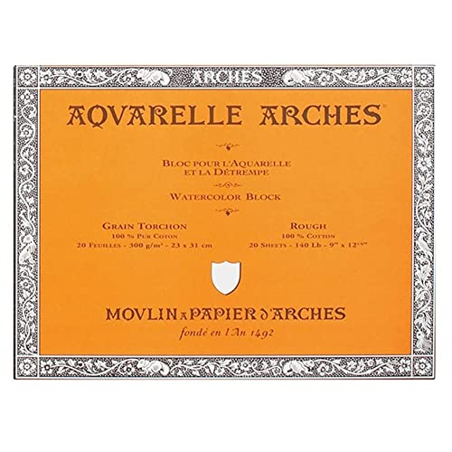 ARCHES 23 x 31 cm 300 gsm Rough Grain Glued on 4 Sides Block Watercolour Paper - Natural White (Pack of 20 Sheets)