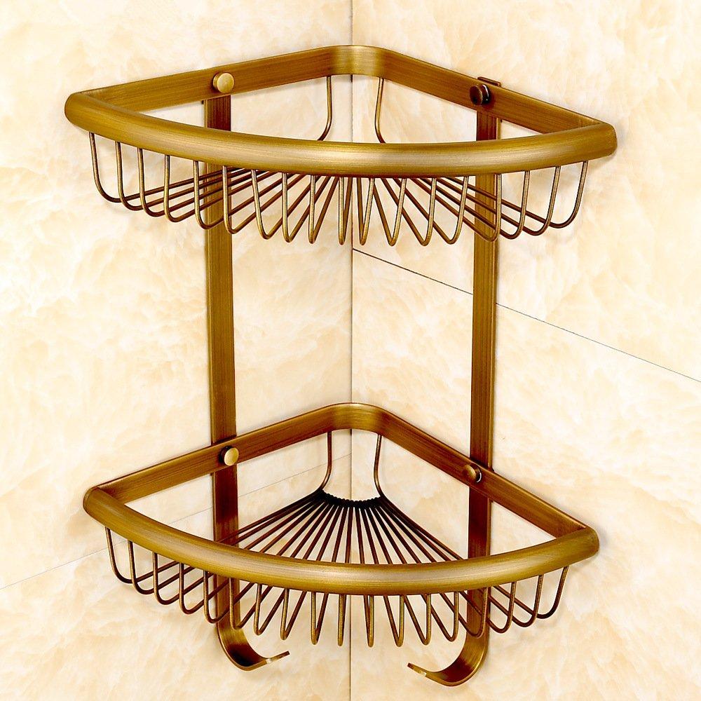 Cobre antiguo triá ngulo canasta bañ o esquina triangular de estanterí a estantes en esquina vintage estanterí a con ganchos ZYZX
