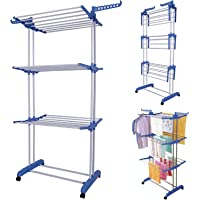EWORLD Carbon Steel Full Size Heavy Duty Double Pole 3 Layer Cloth Drying Stand, Laundry Rack Stand (Blue)