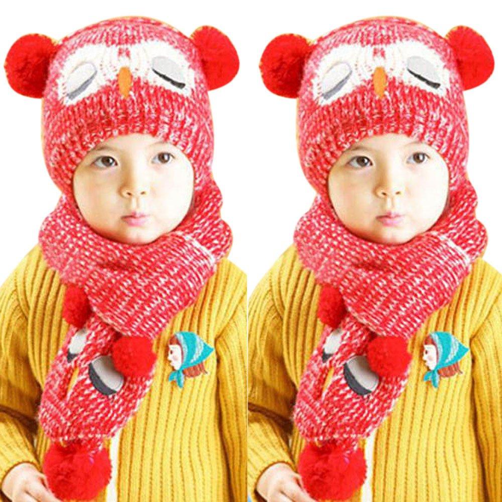 Kobay Inverno Bambino Berretto a Maglia Crochet Bambino Berretti Caldi  Cappello Beanie cap + Sciarpa  Amazon.it  Abbigliamento cb556c15bde3