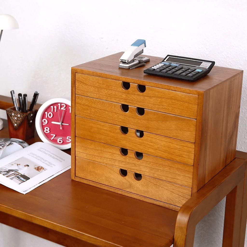File Cabinets Japanese-Style Solid Wood Desktop 5-Layer Office Multilayer DELICATEWNN