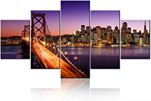City Landscape Canvas Francisco Skyline Pictures for Living Room Bay Bridge Paintings California,USA Artwork 5 Panel Wall Art Home Decor Wooden Framed Gallery-wrapped Ready to Hang(60''Wx32''H)