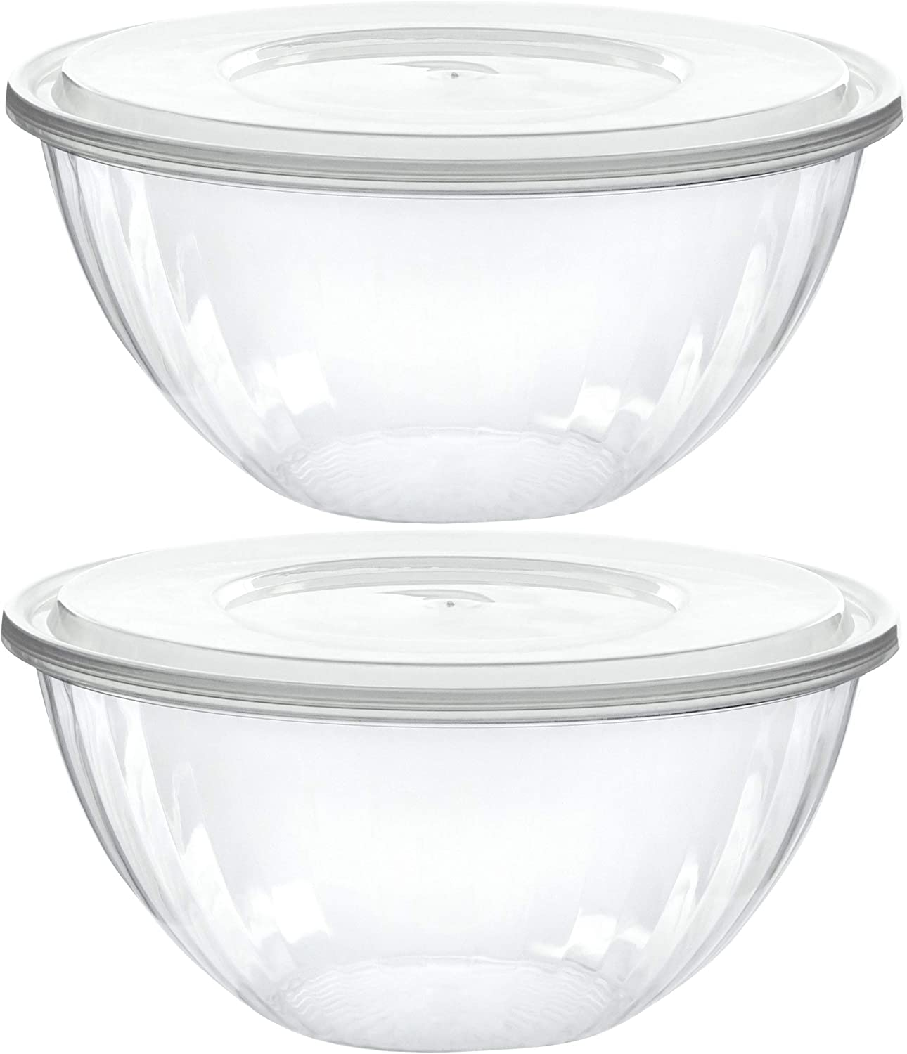 Plasticpro Disposable 48 Ounce Round Crystal Clear Plastic Serving Bowls With Lids, Party Snack or Salad Bowl, Chip Bowls, Snack Bowls, Candy Dish, Salad Container Pack of 2