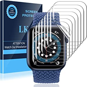 LK 8 Pack Screen Protector Compatible with Apple Watch Series 6 SE Series 5 44MM, Max Coverage, Self-Healing, Bubble Free, HD Transparent Flexible TPU Film