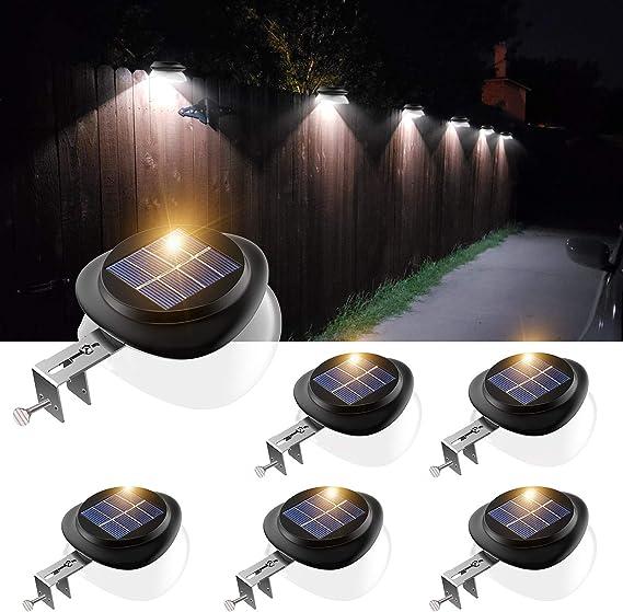 Solar Powered Gutter Fence 6-LED Lights Outdoor Garden Waterproof Lamp Wall R4X9