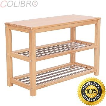 Etonnant COLIBROX  3 Tier Wooden Shoe Storage Bench Racks Shelf Organizer Entryway  Hallway Furni