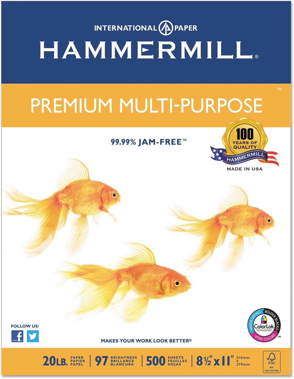 Hammermill 106310 Premium Multipurpose Paper, 20-lb, 8-1/2 x 11, White, 5000/Carton