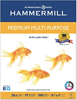 product image for Hammermill 106310 Premium Multipurpose Paper, 20-lb, 8-1/2 x 11, White, 5000/Carton