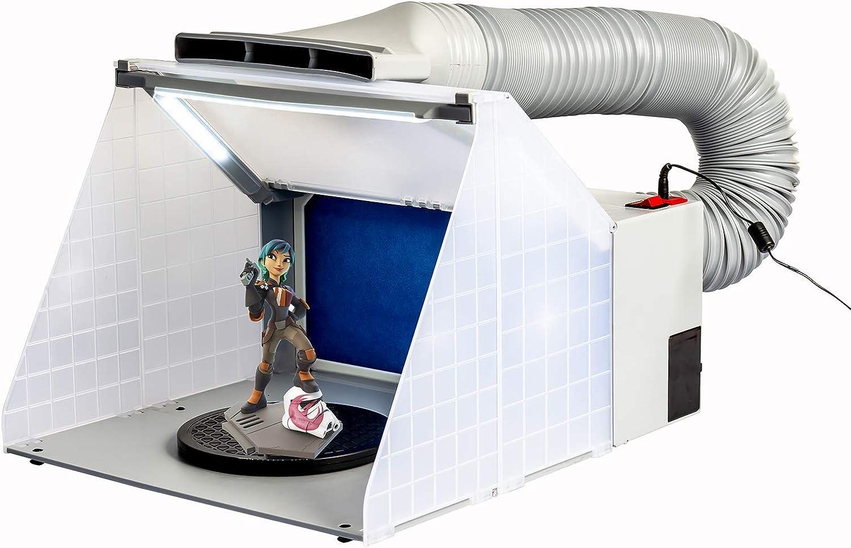 Daewoo Kit de manguera para cabina de pintura Pintura Artesanía Extractor de olores Hobby Cabina de pintura portátil con luz LED Mesa giratoria Ventilador potente con extracción de filtro