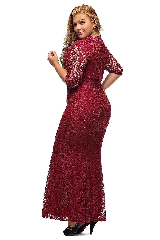 XAKALAKA Women\'s V-Neck 3/4 Sleeve Plus Size Lace Wedding Cocktail ...