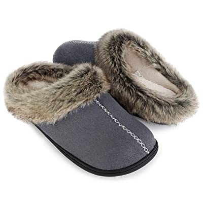 ULTRAIDEAS Men's Cozy Memory Foam Slippers with Warm Fleece Lining and Fuzzy Faux Fur Collar, Casual Micro Suede Slip on Clog Mule House Shoes with Indoor Outdoor Anti-Skid Hard Rubber Sole | Slippers