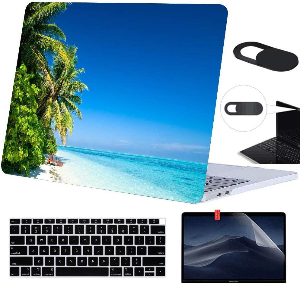 Funut MacBook Air 13 inch Case 2019 2018 Release,Plastic Case & Screen Protector & Keyboard Cover & Webcam Cover,Protective Laptop Case Hard Shell for MacBook Air 13(1932), 01 Blue Ocean