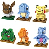 6 Boxes Diamond Block Pokemon Miniature Building Blocks Parent-child Games Children's Educational Toys Pikachu Squirtle Bulbasaur Charizard Ect
