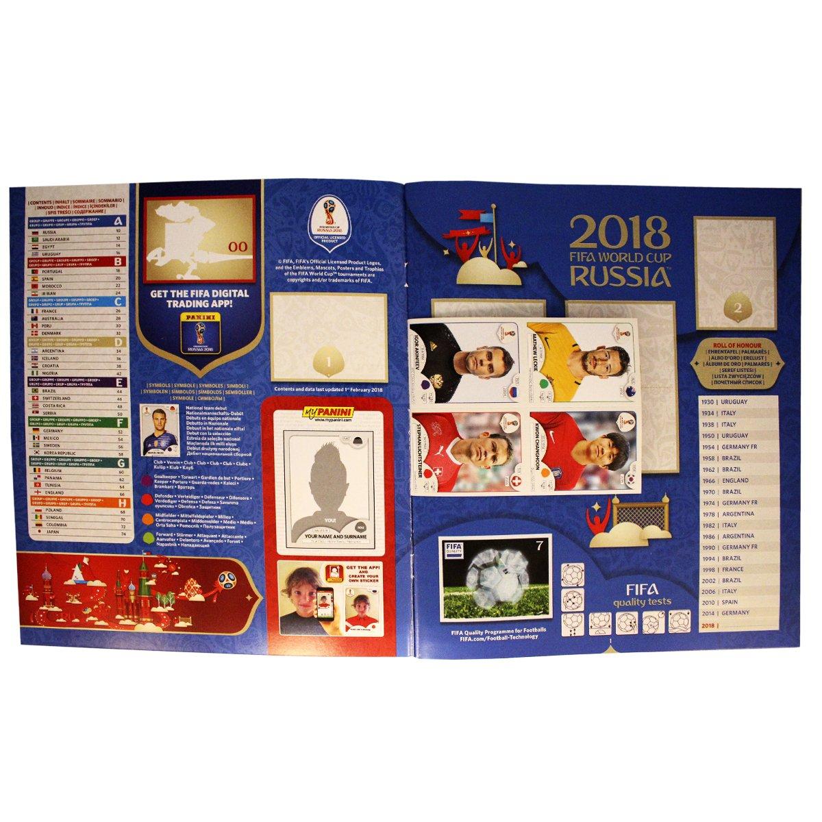 Panini FIFA 2018 Album con Display Cromos: 100 X 5=500 Sticker - Version 682 pcs: Amazon.es: Juguetes y juegos