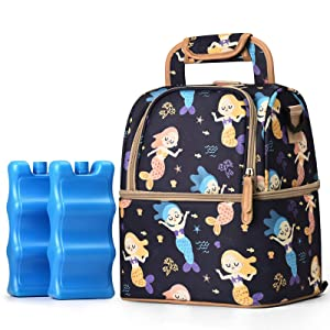 NCVI Breastmilk Cooler Bag with Ice Pack-Double Layer Fits 6 Bottles, Up to 9 Ounces for Nursing Mother Breast Pump Bag Backpack (Multicolor)